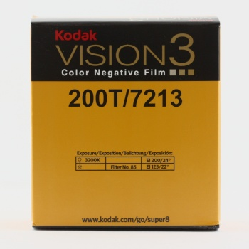 Kodak VISION3 200T Color Negative Film 7213    ISO 200 (tungsten) / 125 (daylight, with 85 filter)    VISION3 200T is a 200-speed tungsten film that provides the image structure of a 100-speed film… [It] performs superbly in both controlled interiors and in challenging high-contrast exteriors.
