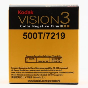 Kodak VISION3 500T Color Negative Film 7219    ISO 500 (tungsten) / 320 (daylight, with 85 filter)    VISION3 500T gives you noticeably reduced grain in shadows, so you can push the boundaries of exposure further and still get excellent results… What's more, VISION3 500T Film's extended highlight latitude gives you greater flexibility when lighting extreme situations, and lets you pull even more detail out of highlights.