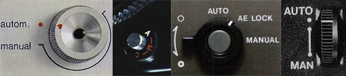 Manual controls – in different places on different cameras.