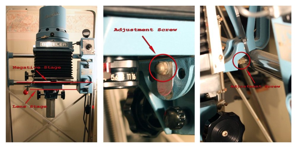 Here are the adjustments for a Beseler 45 enlarger.