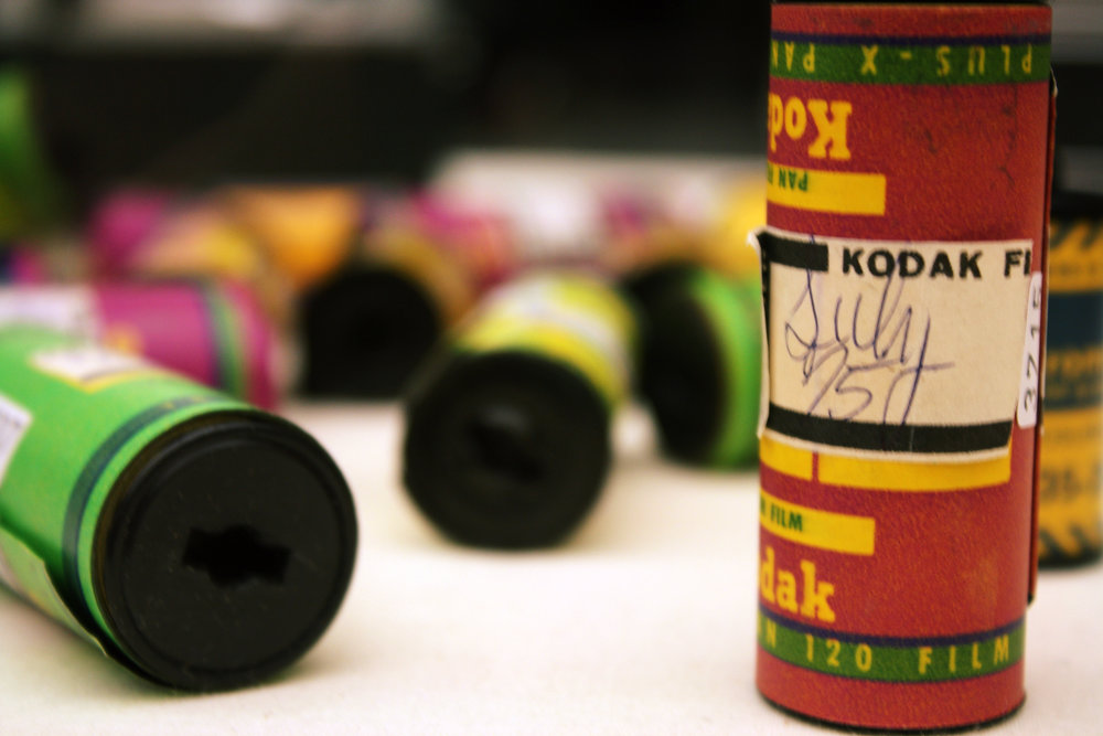 Rolls of undeveloped film at the Chicago Cultural Center's Vivian Maier gallery. Photo by Katt Janson