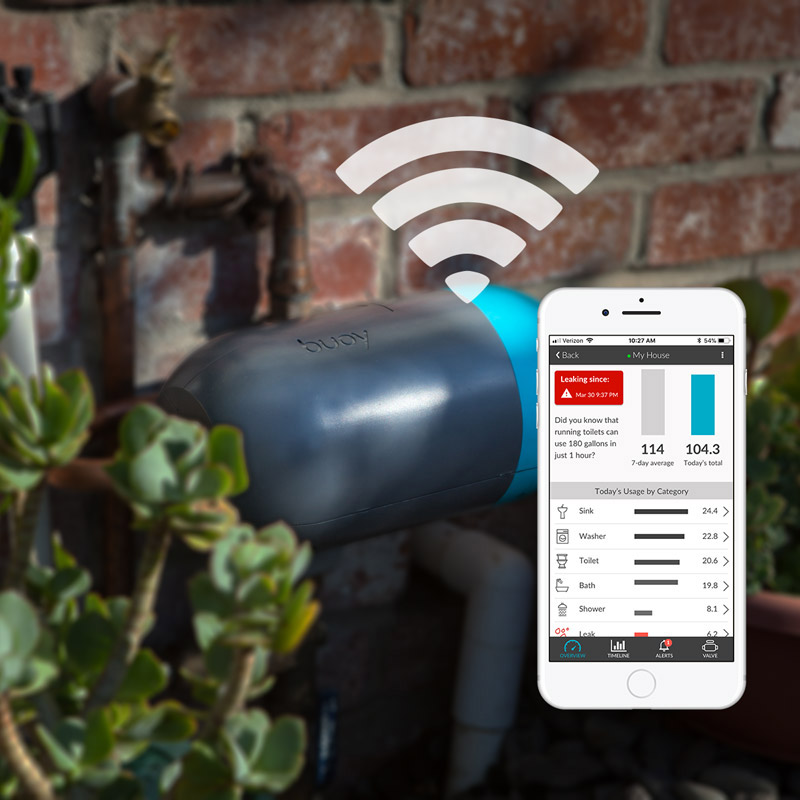 The Buoy device transmits the data to your Buoy app via your home's wifi.