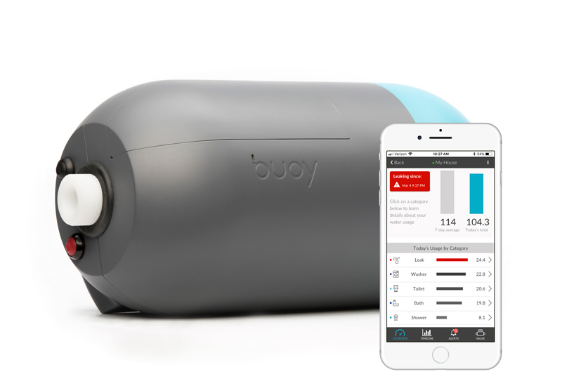 The Buoy overview presents real-time water use in a consumer-friendly way.