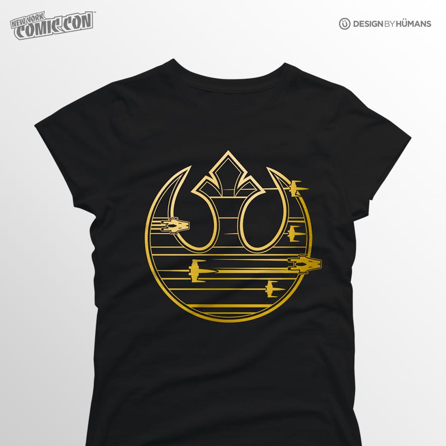 Gold Rebel Logo | Star Wars - Gold Foil Print | Women's S - 2XL | $27
