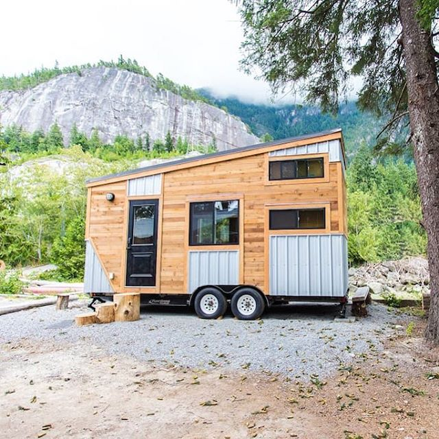 The Cowboy Tiny House, available for rent on a private beach in Squamish, BC 🏡