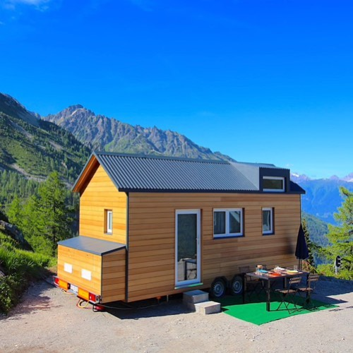 A tiny house on wheels in the beautiful Swiss town of Finhaut. Book it on Airbnb for $98 a night! Link in profile! . . . #tinyhouse #tinyhome #house #home #travel #switzerland #finhaut #airbnb