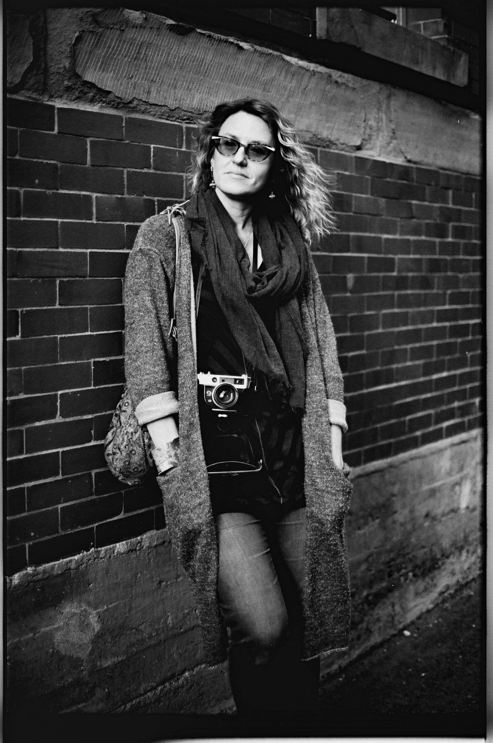 Joanne with her rangefinder camera . Film Washi D 500 Sputnik Panchromatic black and white film. ©2018 Mark Klotz
