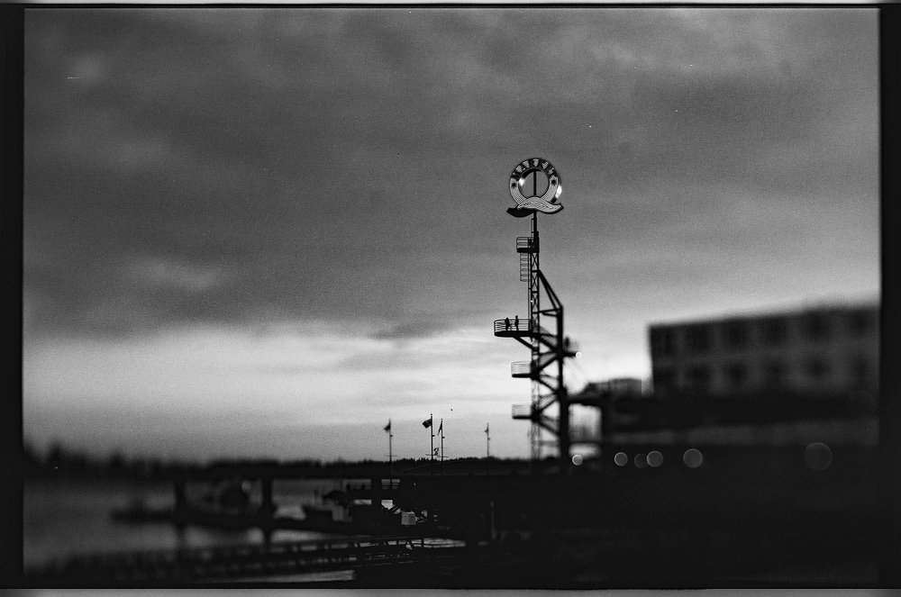 The big Q at Lonsdale Quay, North Vancouver. Freelensing version. Film Washi D 500 Sputnik Panchromatic black and white film. ©2018 Mark Klotz