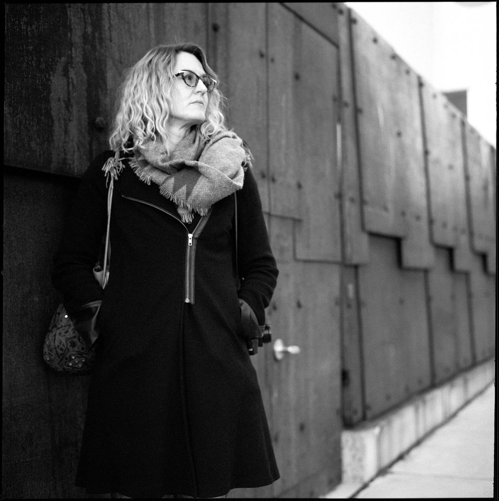 Joanne, beside the Polygon Gallery in North Vancouver. Shot with my Hasselblad 500C (Apollo), on Rollei RPX 400 black and white film, pushed to EI 1600. Developed in Joanne's kitchen sink.