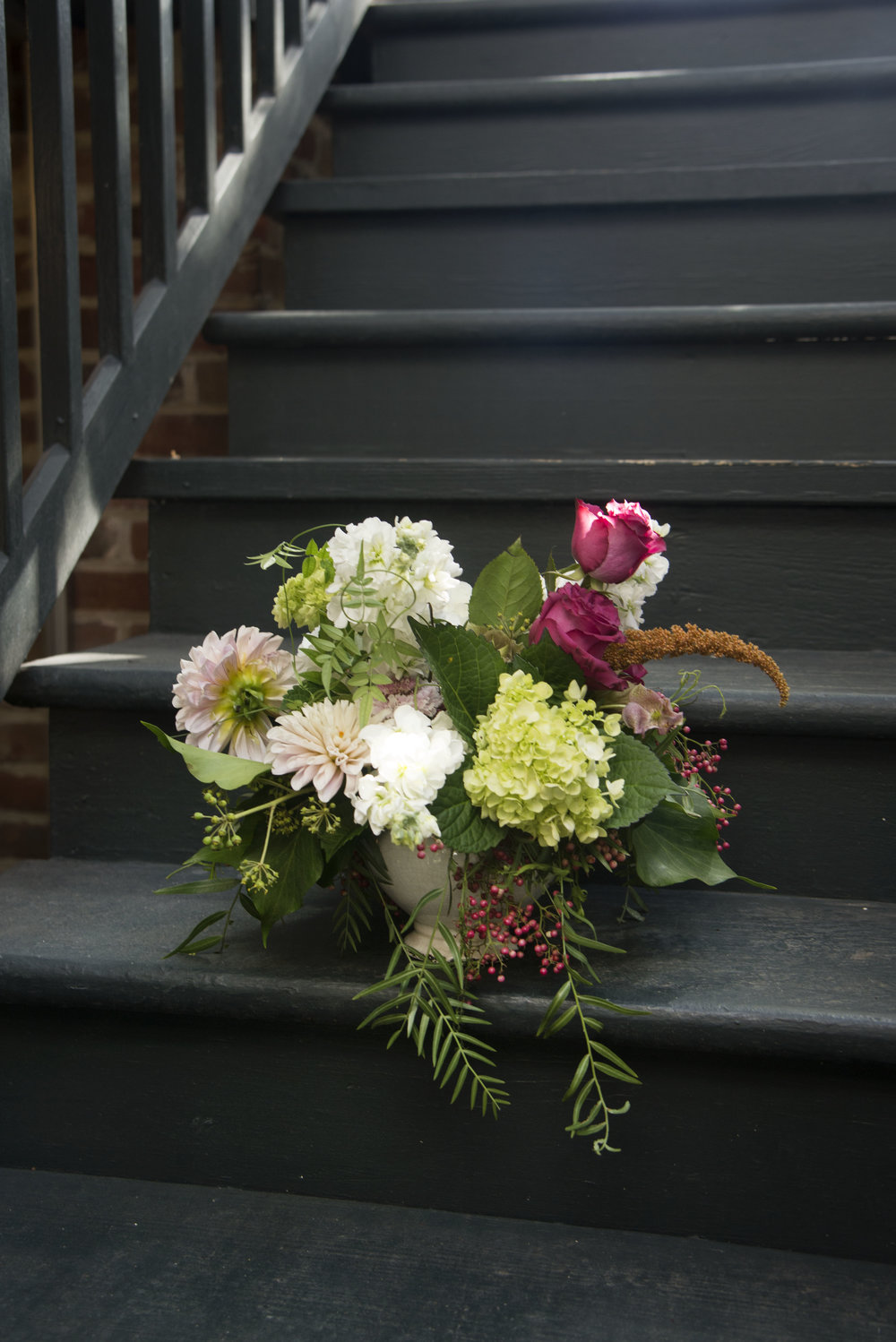 fresh cut organic arrangement on the steps in the sun made by steph mitchs flowers new orleans fresh cut flowers .jpg