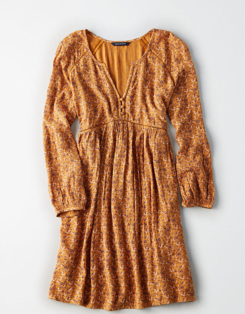 FLORAL SHIFT DRESS - @americaneagle
