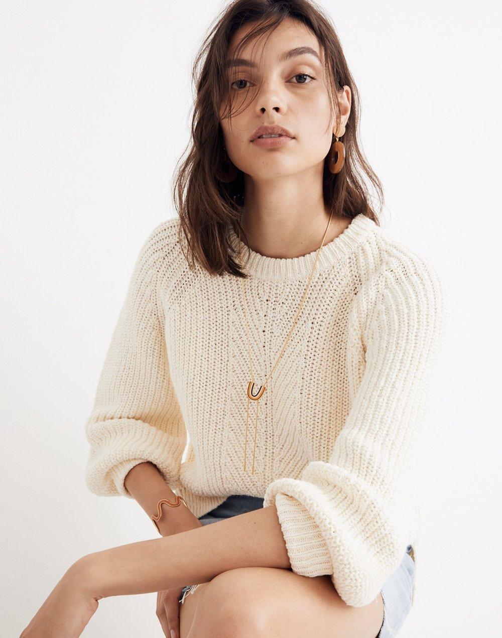Balloon-Sleeve Pullover Sweater - @madewell
