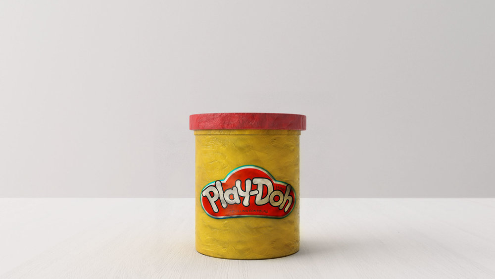 ON THE TABLE,THERE IS NOTHING, BUT PLAY-DOH.