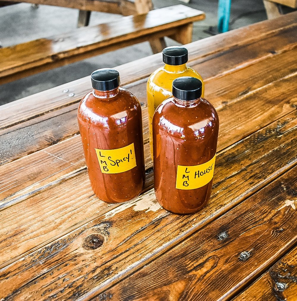 House made sauces at Little Miss BBQ