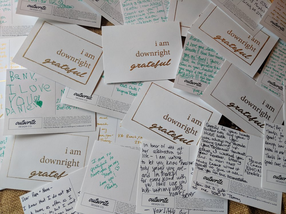 Your grateful cards were a Home. Run. Who knows how many lives you touched that day? How many lives you saved?