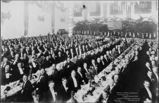 The Atlanta Chamber of Commerce's famous Possum Banquet with honorary guest President-Elect William Howard Taft.