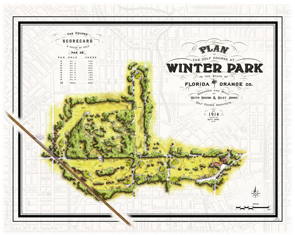 The Winter Park Golf Course master plan - Canvas prints available for purchase in pro shop