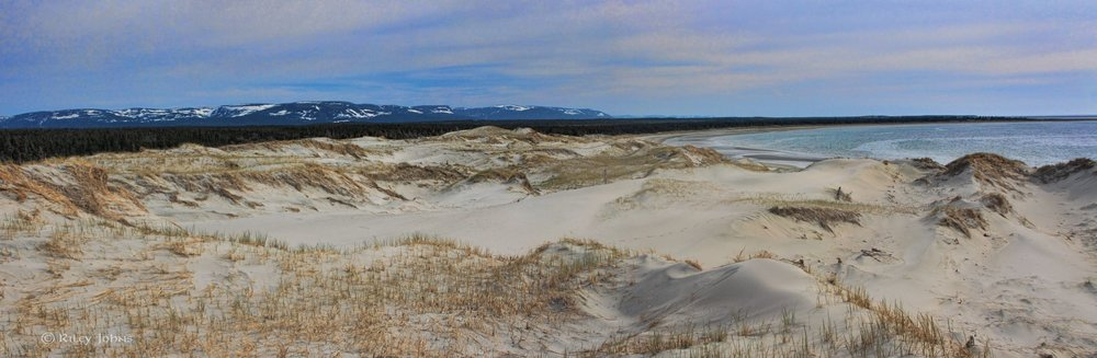 Newfoundland, Canada : Where dunes, ocean, and mountains meet.