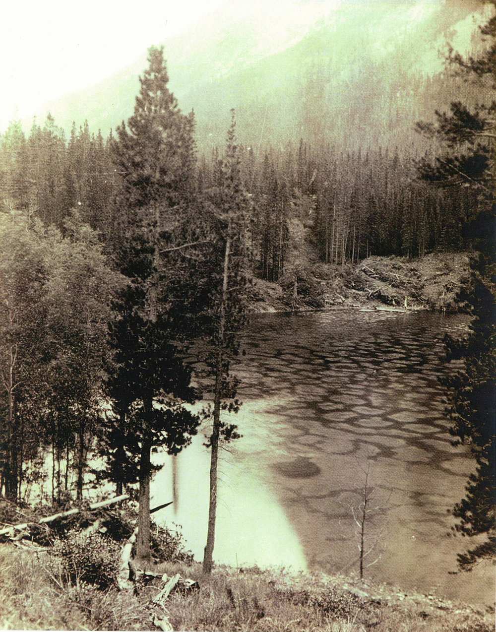 A rare photo from 1927 showing the Devil's Cauldron being cleared of trees and prepped for construction.  No evidence of a rockslide can be seen refuting such tales.
