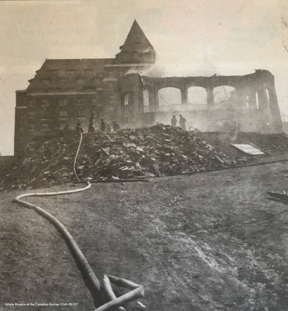 Forest fires were not the only concern for the original Banff Springs Hotel.  On April 7, 1926, around the same time Stanley Thompson was approached to re-build the golf course, the Hotel suffered extensive damage from a fire and was quickly rebuilt into it's present day form.