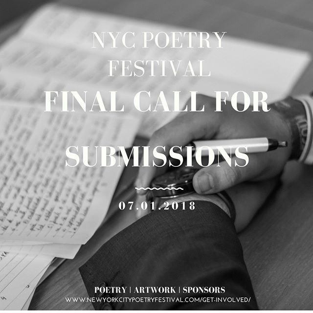 T-Minus seven days to get involved with the NYC Poetry festival. Interested in submitting art, volunteering, or sponsoring the event? Please visit www.newyorkcitypoetryfestival.com/get-involved/