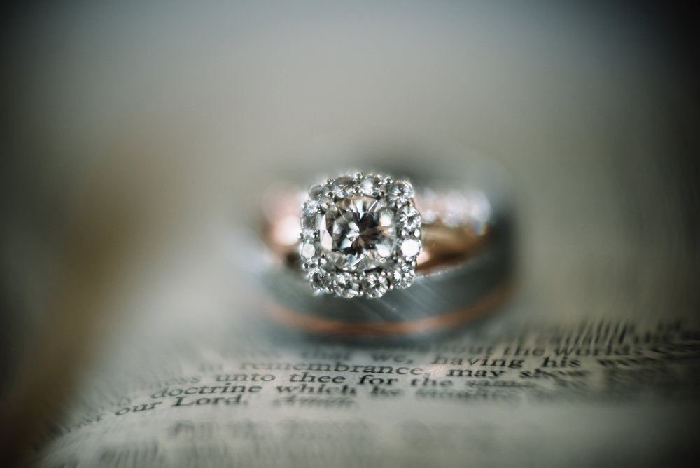 Close up of the engagement ring.