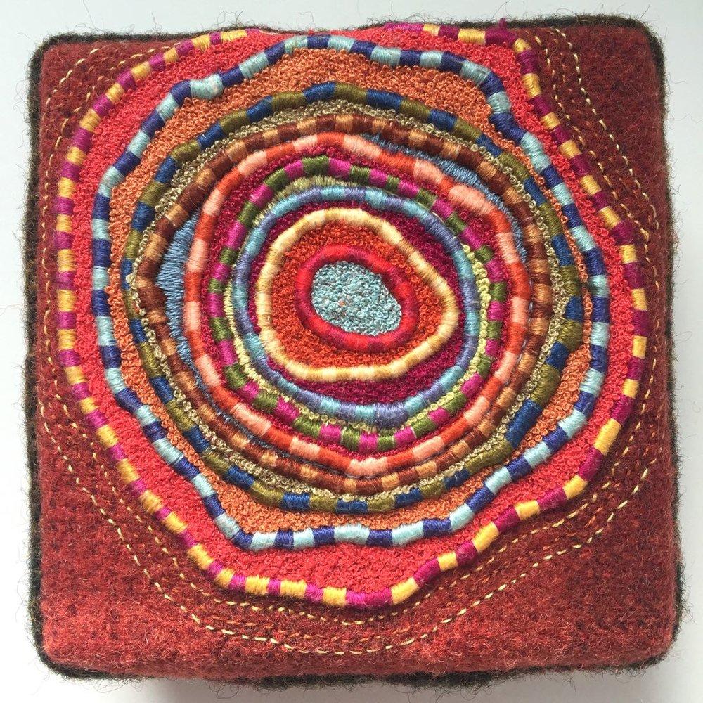 "Coterie, 2016, felted wool, french knots, single strand satin stitch, 4"" x 4"" x 1.5"""