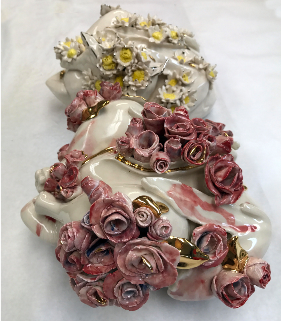 "Flesh: Rose & Flesh: Daisy, 2017, porcelain, hand-painted decoration, gold luster 11""x8""x7"", 10""x9""x7"""