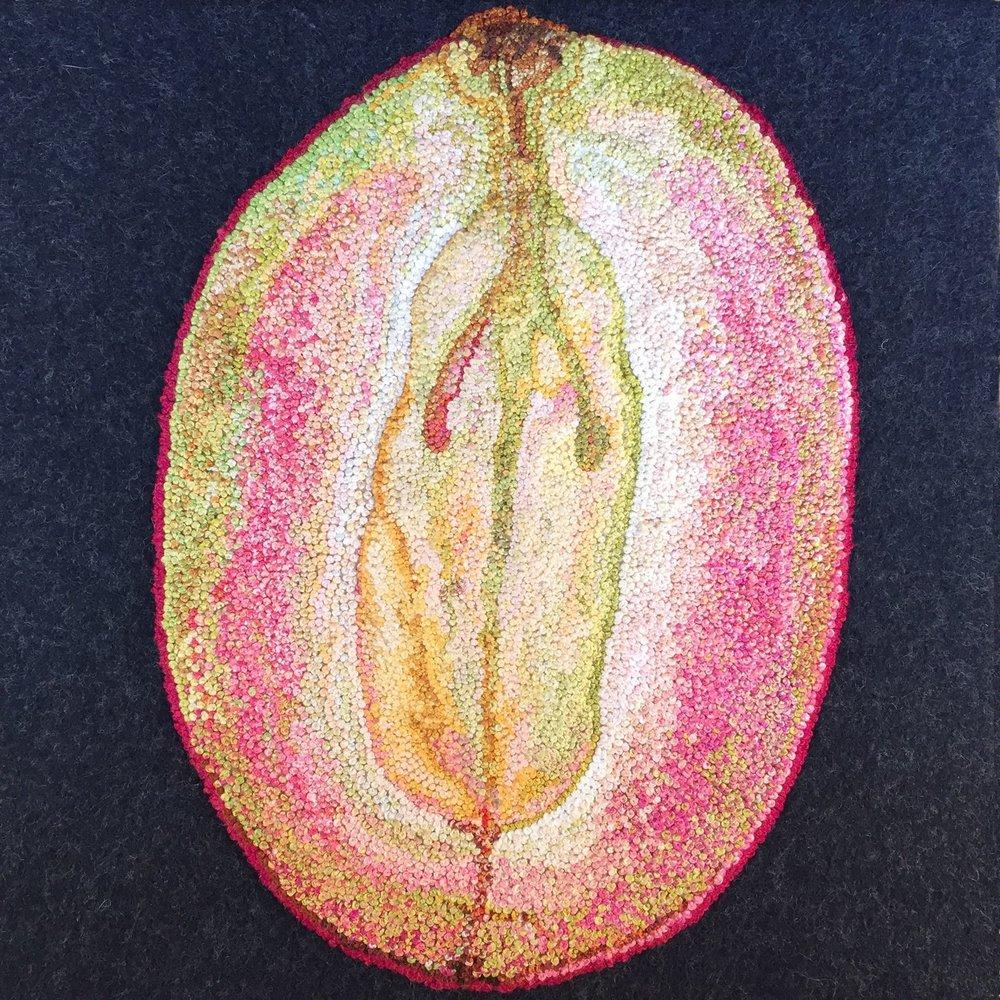 "Sliced Grape, 2015,French knots on wool felt, 8"" x 8"" x 1.5"""