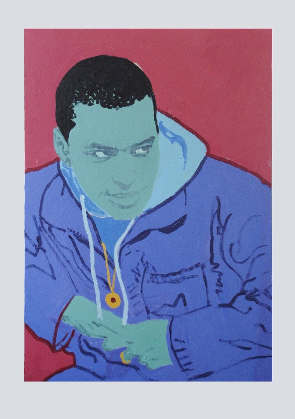 """Chuck, acrylic on canvas, 39.5""""X27.5""""."""