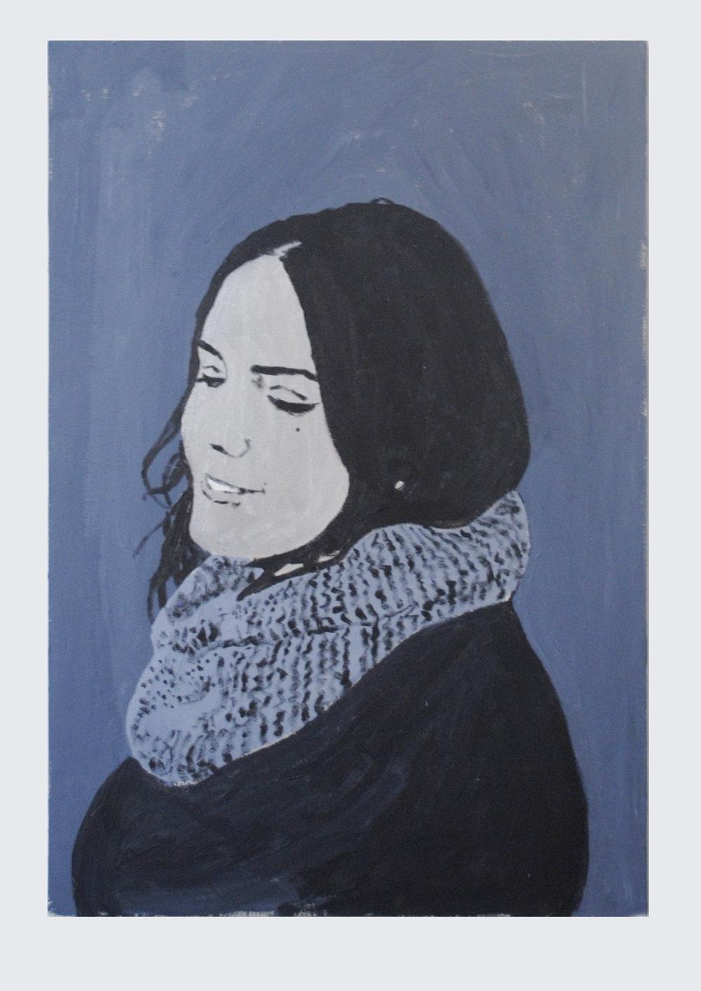 """Lisa, acrylic on canvas, 37.5""""X25.5""""."""