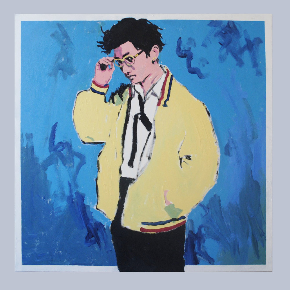 "Shibe, acrylic on canvas, 40""X40""."
