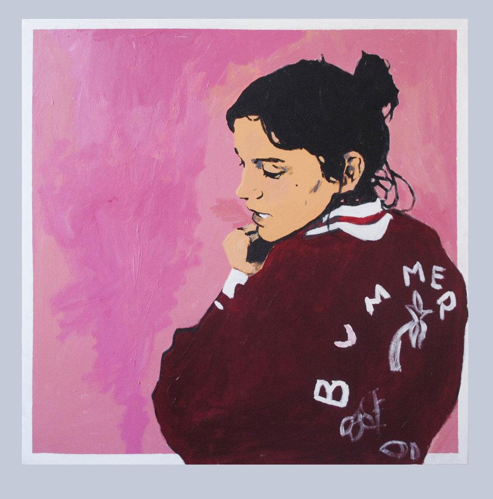 "Sophia, acrylic on canvas, 40""X40""."