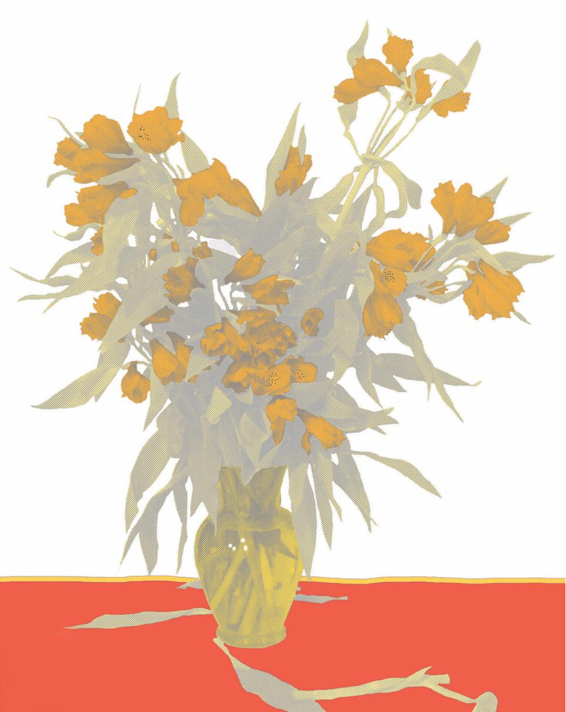 "Flower Vase White, inkjet printed on hot press bright paper 320g/sm, 19"" X 13"", 2017"