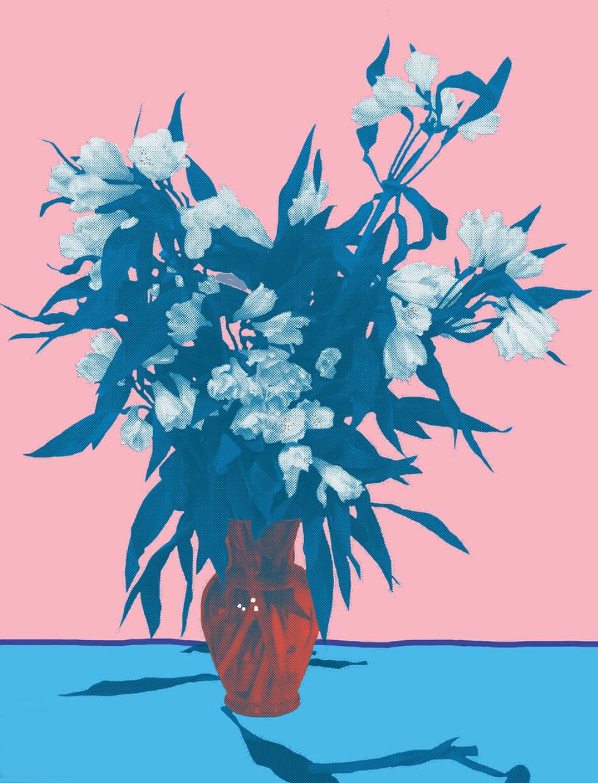 "Flower Vase Pink, inkjet printed on hot press bright paper 320g/sm, 19"" X 13"", 2017"