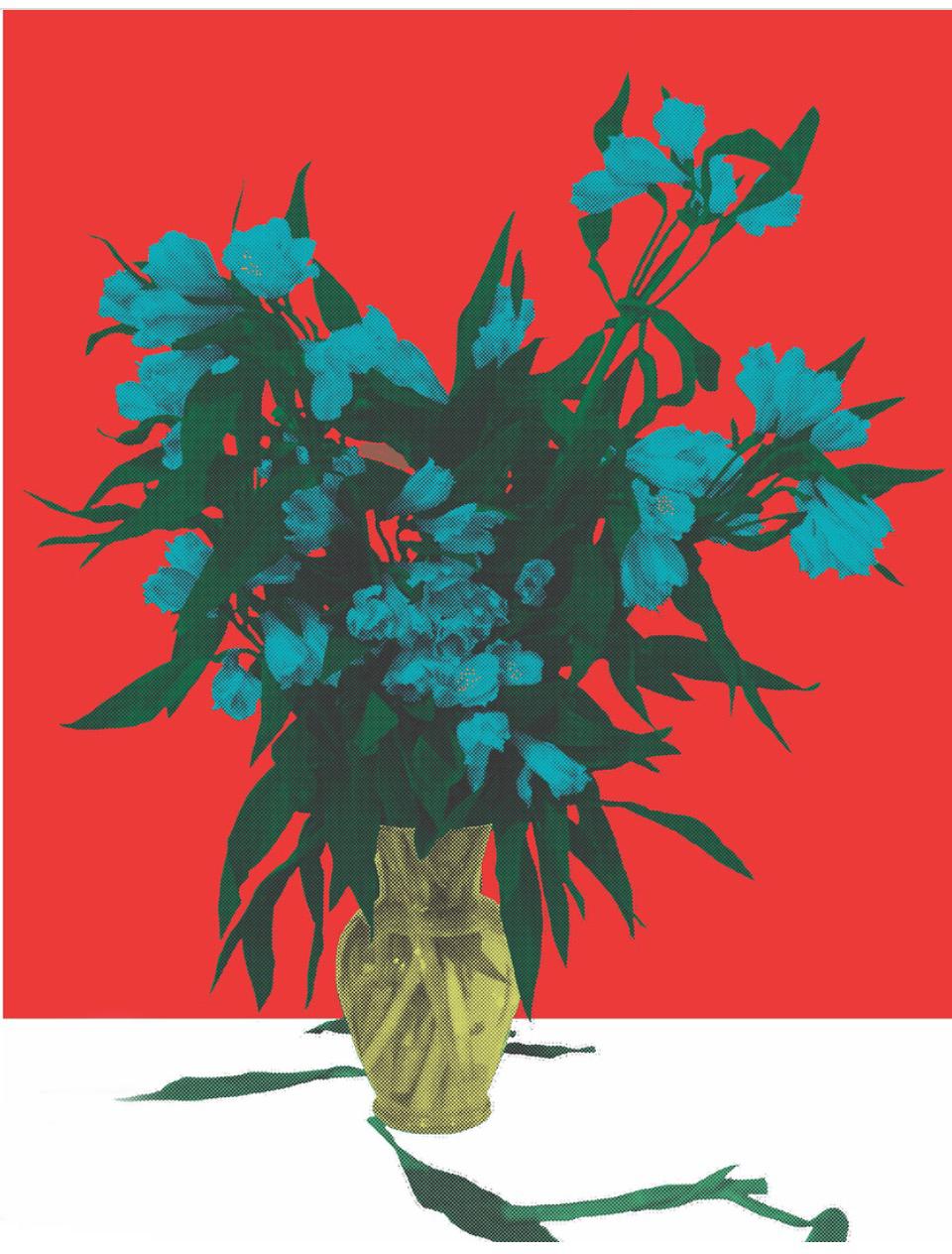 "Flower Vase Red, inkjet printed on hot press bright paper 320g/sm, 19"" X 13"", 2017"