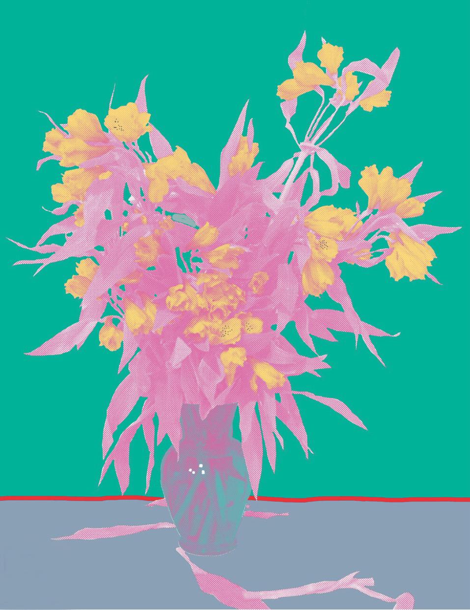 "Flower Vase Green, inkjet printed on hot press bright paper 320g/sm, 19"" X 13"", 2017"