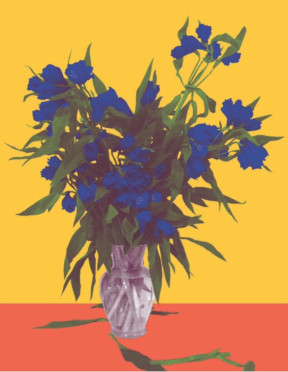 "Flower Vase Orange, inkjet printed on hot press bright paper 320g/sm, 19"" X 13"", 2017"