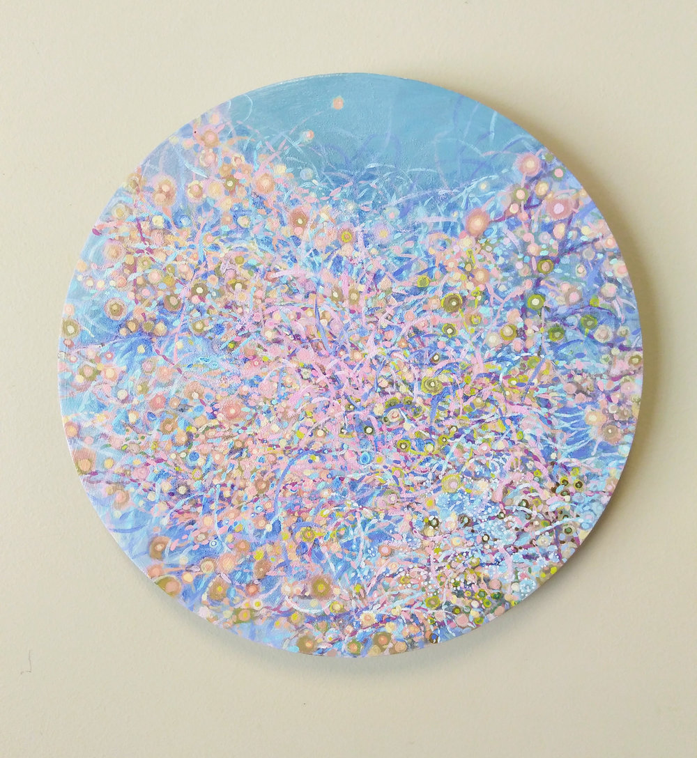 "Shuling Guo  Spring 4  Acrylic on Canvas Board  Diameter: 12""  2018"