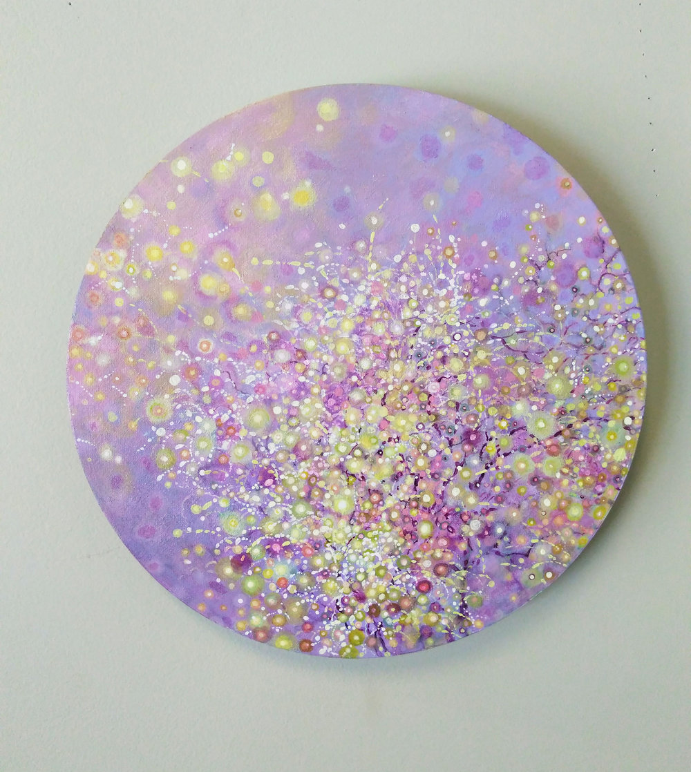 "Shuling Guo  Spring 1  Acrylic on Canvas Board  Diameter: 12""  2018"