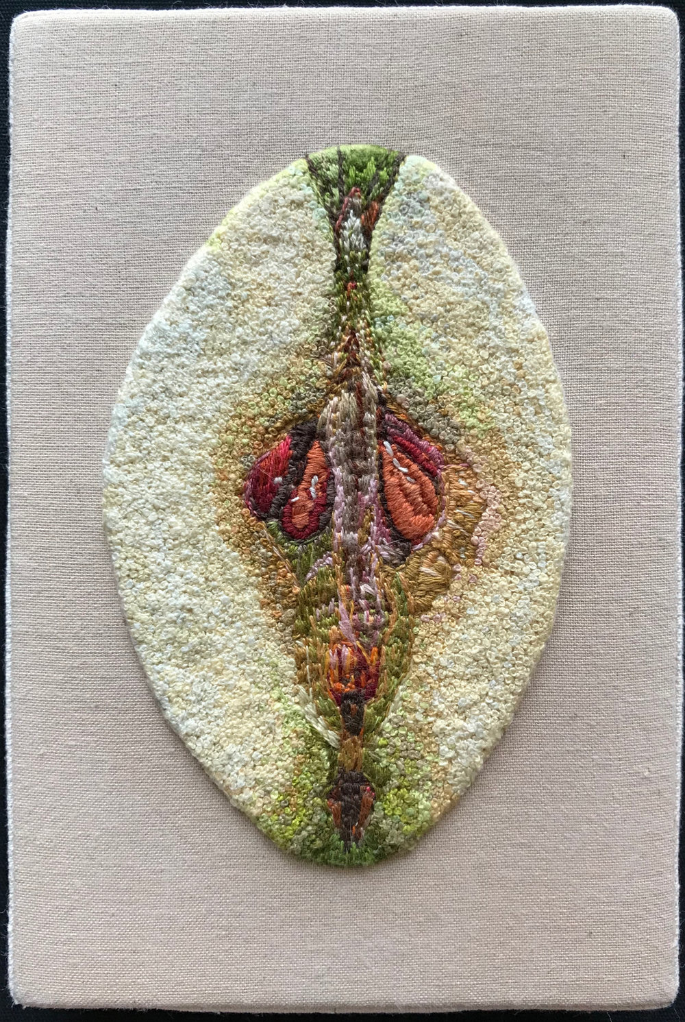 "Teresa Shields  One Bad Apple  French Knots on Canvas  6"" x 4"" x 1""  2018"