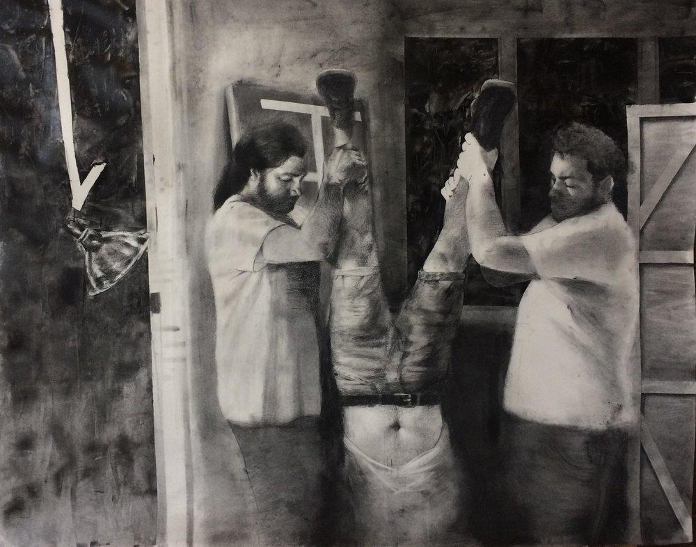 "Jotham Malavé  Drowning of Salcedo  Charcoal and gel medium on paper  42"" x 66""  2018"