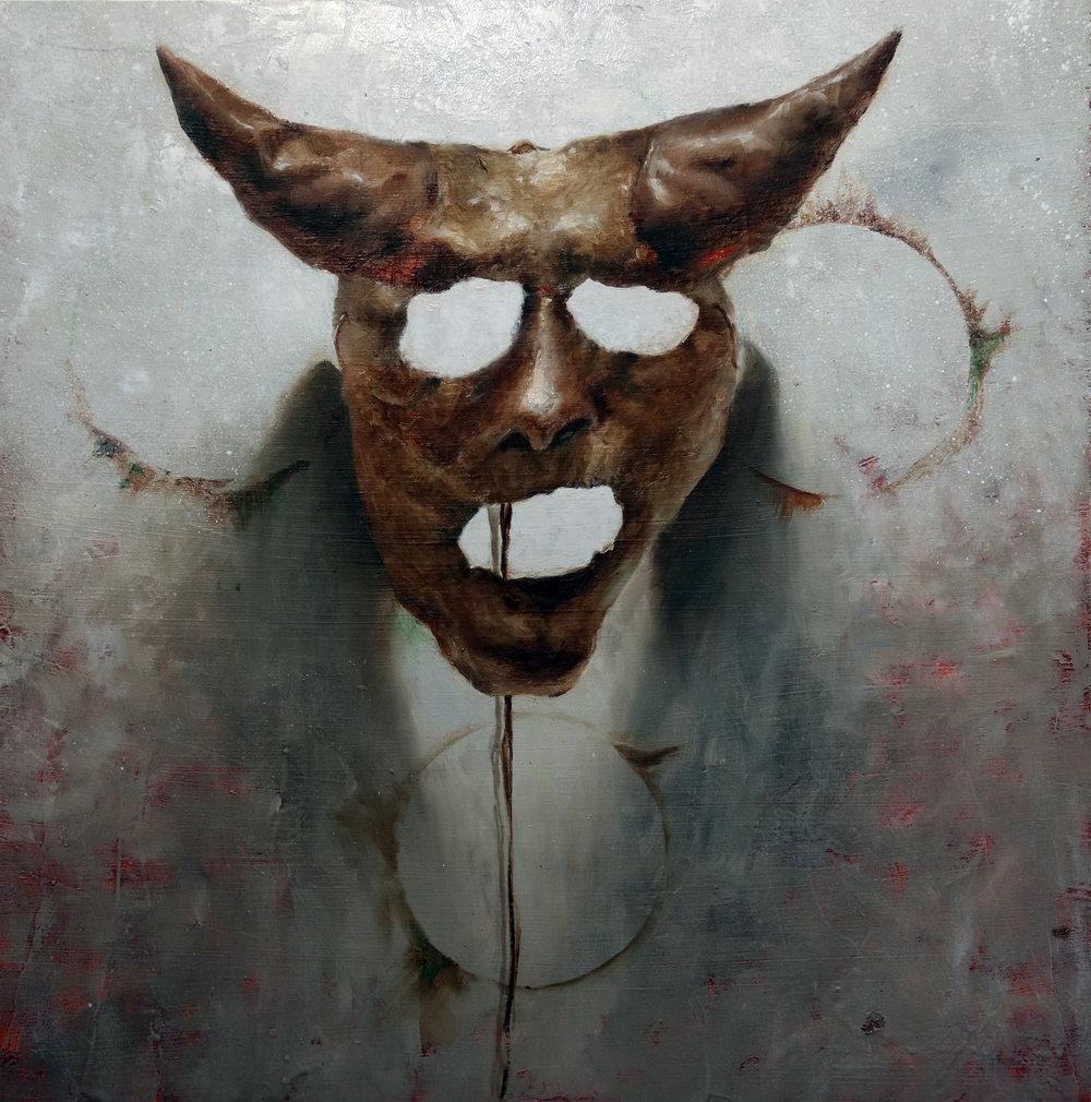 """Jotham Malavé  Mascara chamanistica  Oil on canvas  16"""" x 16""""  2018"""