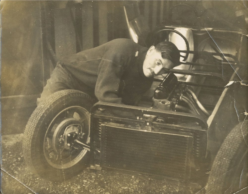 Arthur building his Formula Junior U2 Mk2 at Roade, winter 1959/60