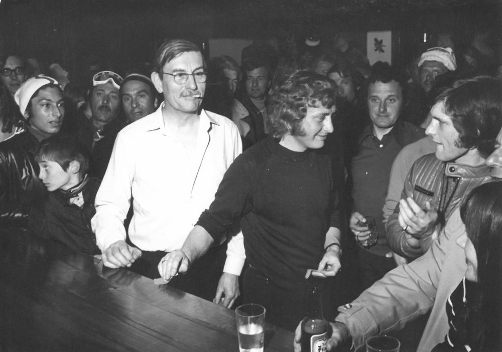 Arthur collecting the seniors ski race prize as usual at Sauze in about 1979.jpg