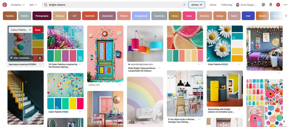 """An example of a search for """"bright colours"""" on Pinterest."""