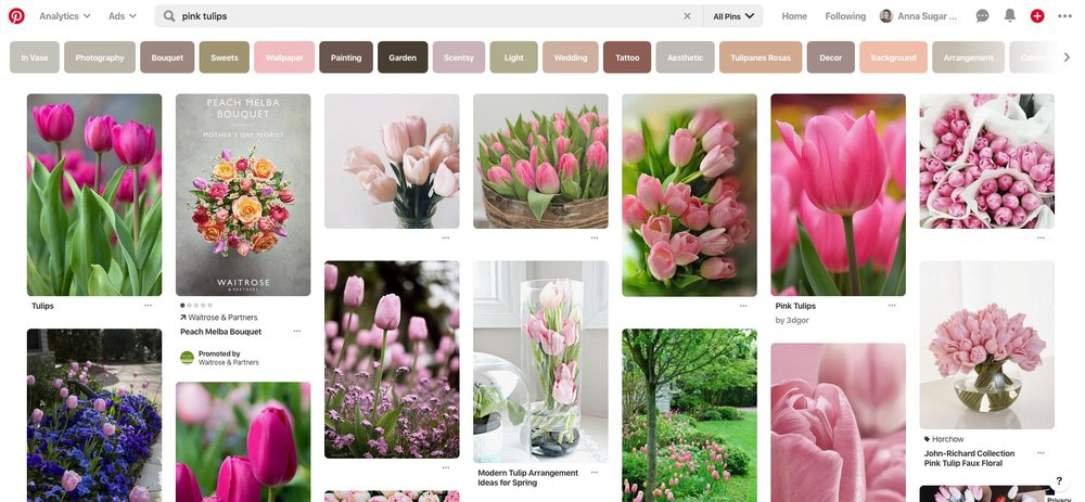 """An example of a search for """"pink tulips"""" on Pinterest."""