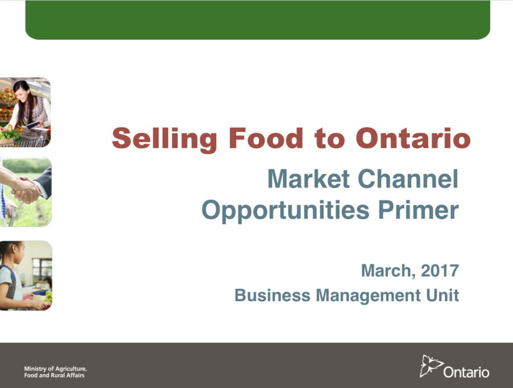 This resource  from OMAFRA provides a good overview of all the possible marketing channels, including chain stores and the broader public sector (universities, public institutions, and hospitals) with consideration of the cost of doing business with different channels.