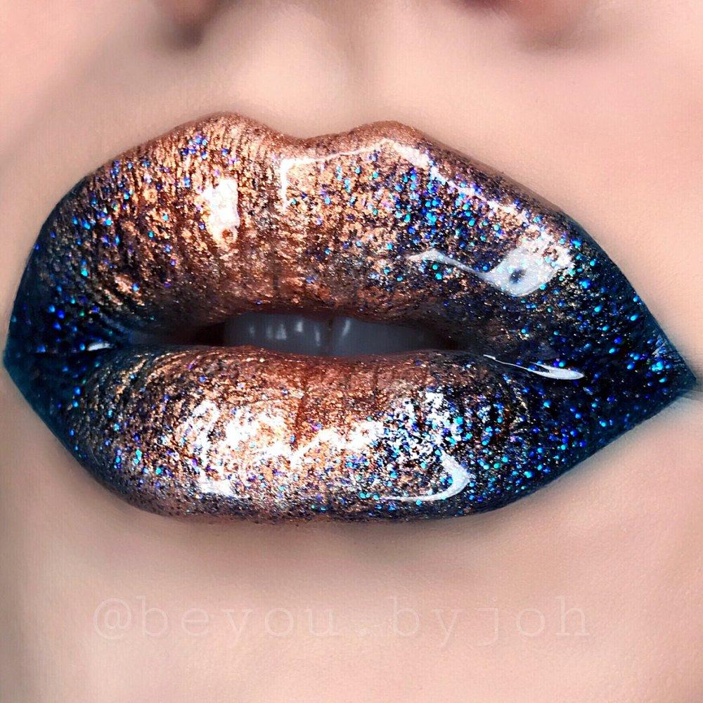 Halo ombre  Gold, glitter &glossy