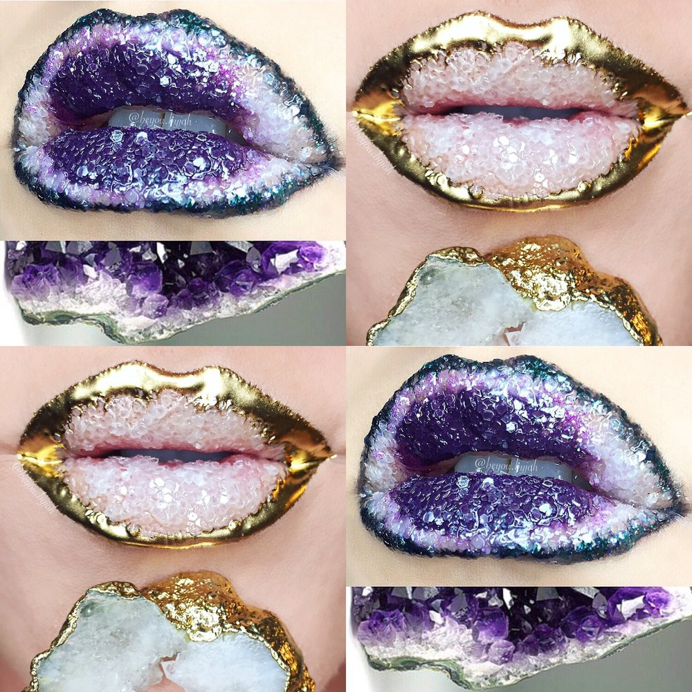 Crystal geodes  Amethyst & liquid gold